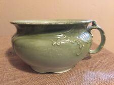 PRIMIITIVE ANTIQUE embossed GREEN CHAMBER POT - ENGLAND - ceramic