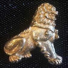 CHRISTIAN DIOR Foo Dog Asian Lion Shi Gold-Tone Brooch MINT