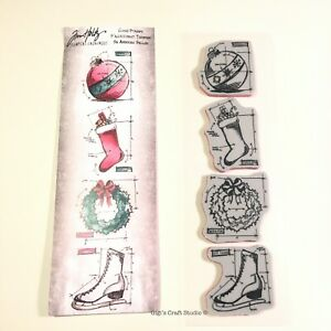 4pc Tim Holtz Stampers Anonymous Cling Stamps ~Christms2~ THMB014