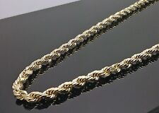 """Men's Real 10k  Yellow Gold Rope Chain Diamond Cuts 4mm 18"""" Inch Necklace Franco"""