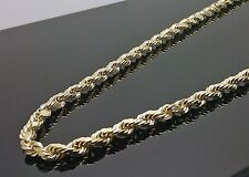 "Men's Real 10k  Yellow Gold Rope Chain, Diamond Cuts 4mm 18"" Inch Franco, N"