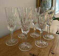 "Set 6 Waterford Crystal Lismore Champagne Flutes Glasses 7.25"" Free Us Ship"