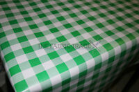 WIPE CLEAN GREEN RETRO GINGHAM PVC TABLECLOTH VINYL OILCLOTH FABRIC COVERING