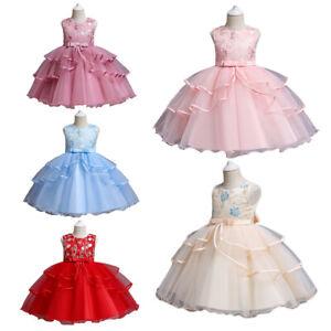 Kids Tulle Mesh Party Dress Flower Girls Tutu Princess Bridesmaid Dresses Gown