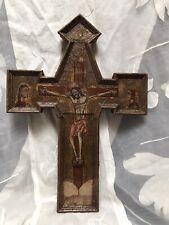 Altes Tafelkreuz Kreuzikone Kruzifix Holz Malerei punzierter Goldgrund Italien