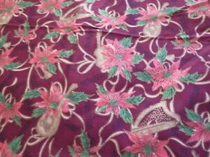 1 1/2 yd poinsettia on maroon background cotton print - JoAnn