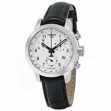 Tissot Women's PR 100 Silver Dial Leather Strap Chronograph Watch T0552171603202
