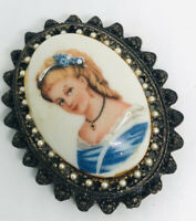 Beautiful Limoges Porcelain Cameo Brooch Hand Painted Seed Pearl Vintage Jewelry
