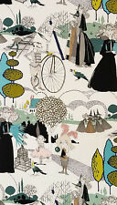 A Ghastlie Pastoral - Blue 8591/BR Witches, Bicycles Haunted Cotton Fabric