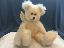 """Winey Bears by Sally Winey 12 1/2"""" Signed Ivory mohair Bear with Gold 00004000  wings"""