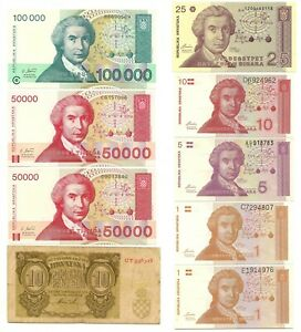CROATIA Banknotes Collection 1 to 100000 Francs 9 pieces -PVV