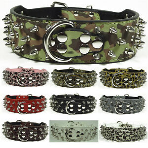 Spiked Studded Dog Collar Leather Medium Large Dog Pit Bull Terrier Sizes M L XL