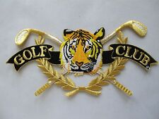 """#3675 8-1/2"""" Golf,Tiger head w/Golden Word GOLF CLUB Embroidery Applique Patch"""