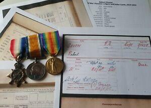 WW1 1915 Star Trio Medals, Cpl Sharpe, R.E, Glasgow Man, Casualty Wounds
