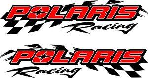 "Polaris racing checker snowmobile 2 sticker decal set 5"" x 22"""