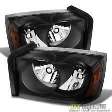 Black 2005-2007 Dodge Dakota SLT ST Replacement Headlights Headlamps Pair 05-07