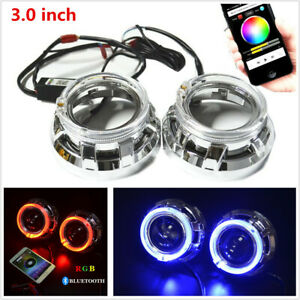 "3.0""H1 Bi Xenon Hid Projector Lens Shrouds RGB Angel Eye Halo Ring Bluetooth APP"