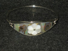 ONE Abalone Shell Adult Bracelet Great Xmas Gift Crafted Alpaca in Taxco Mexico