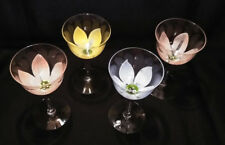 Set of 4 Hand Painted Flower Stemmed Drinking Glasses