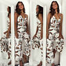 Women V-Neck Sleeveless Floral Jumpsuit Romper Backless Wide Leg Pants Casual