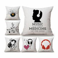 Black White Music Cotton Linen Throw Pillow Case Cushion Cover Home Car Decor