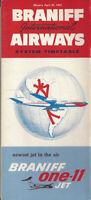 Braniff International Airways system timetable 4/25/65 BAC 1-11 inaug [0051]