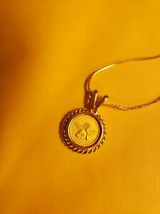 """Ultima 24K Gold Electroplate 24"""" chain and angel coin pendant"""
