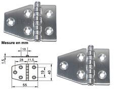 Charnière inox 55x40mm Epaisseur 1,5mm ( Lot de  2 ) inox A2