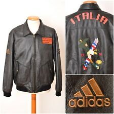 vtg Adidas ITALIA 1934 football World Cup 90s limited LEATHER JACKET mens M rare