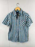 Rusty Men's Short Sleeved Button Up Shirt with Pocket Size S Blue Check
