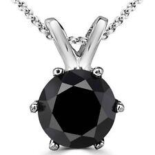 0.25 Carat Black Diamond 6 Prong 14K White Gold Solitaire Pendant & Chain
