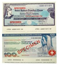 Specimen Lot 2 Travellers Cheque - American Express - Swiss Bank  From 1$