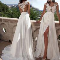 Beach Wedding Dress White Lace Chiffon Long Split Cap Sleeve Bridal Gown US2-10