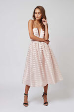 BNWT Topshop stripe midi prom dress by Rare - pink/white - UK 8
