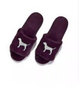 Victorias Secret Pink Open Toe Slippers Slide Sandal *Luscious Plum M(7-8) New🌺