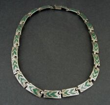 Taxco Necklace Sterling Vintage Turquoise Inlay Stones Silver 925 Mexico Links