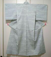 Woman, Japanese kimono(Hitoe), Komon, Silk, Light green.