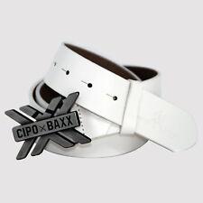 CIPO & BAXX Gürtel echt Leder Streetwear triple x Belt CG147 weiß Topseller Neu