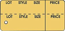 """Garment Tag Large,""""Lot, Style, Sz, Prc"""" Buff in color 2-7/8""""x 1-3/8"""", box of 100"""