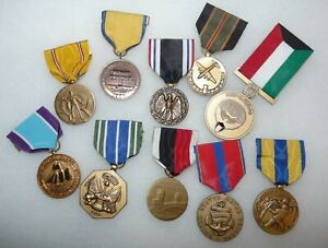 Mixed Lot of Ten (10) US Military Full Sized Medals Various Wars and Eras