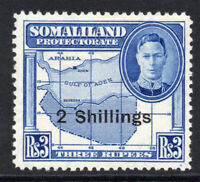 Somaliland 2 Schillings Blue Stamp Overprint on 3 Rupee c1951 Mounted Mint(1634)