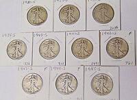 10 Walking Liberty Half Dollars: 1920-S 1923-S 1934-S 1935-S 1940-S to 1945-S