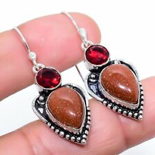 "Red Goldstone, Garnet Gemstone Handmade Fashion Jewelry Earring 1.7"" SE6041"