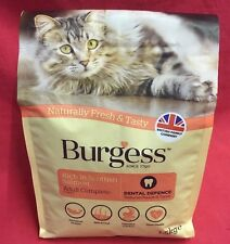 Burgess Dry Adult Cat Food Salmon Dental Care Digestion Urinary Skin Coat 1.5kg