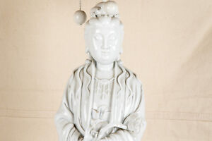 An Excellet Large Chinese Antique Blanc De Chine Porcelain Kwanyin Statue, Lamp.