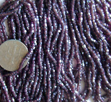 Antique Purple Expresso THREE Mini Hanks Faceted Cut Glass 11/0 Seed Beads 18bi