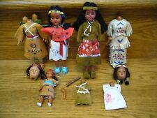 9 Vintage 1950's Native American Indian Squaw Dolls Sleepy Eyes Leather Clothes