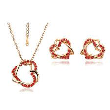 Diamante Cuore Rosso Cristallo Sposa Set Gioielli Orecchini A Perno & Collana