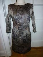 NWT: JAVIER SIMORRA COLLECTION Pewter Reptile Print Matelasse Texture Dress,  6