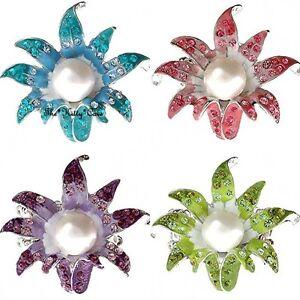 Chic Silver Trumpet Lily Flower Enamel Pearl Statement Ring W/ Swarovski Crystal